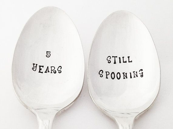 5 year anniversary gifts for him for her 5th wedding anniversary spoon set stamped silverware still spooning
