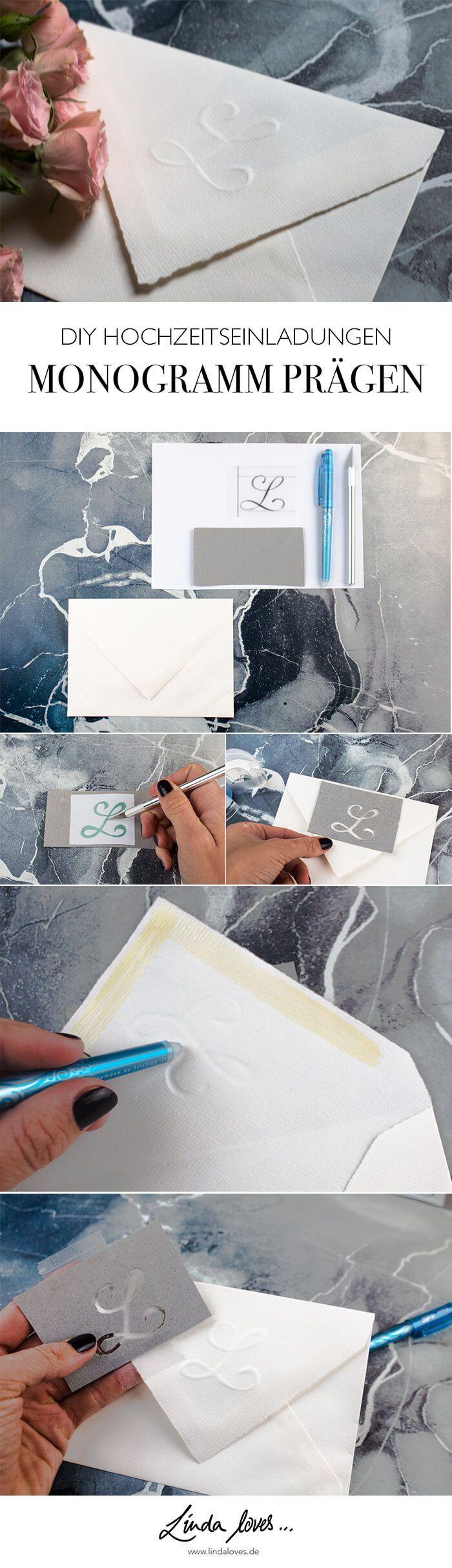Monogramm prägen DIY Blog Hochzeit Einladungskarten selber gestalten