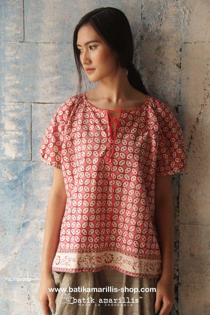 batik amarillis's innocencia blouse www.batikamarillis-shop.com .beautiful pleasant blouse made with batik kawung Banyumas with lovely hand stiched and red cord .