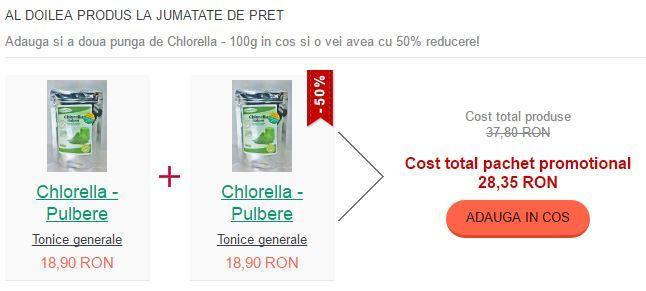 Avem acum al doilea produs la jumătate de preț! Adaugă în coșul tău și a doua pungă de Chlorella la 100g și o vei avea acum la 50% reducere! https://goo.gl/cRQnWH