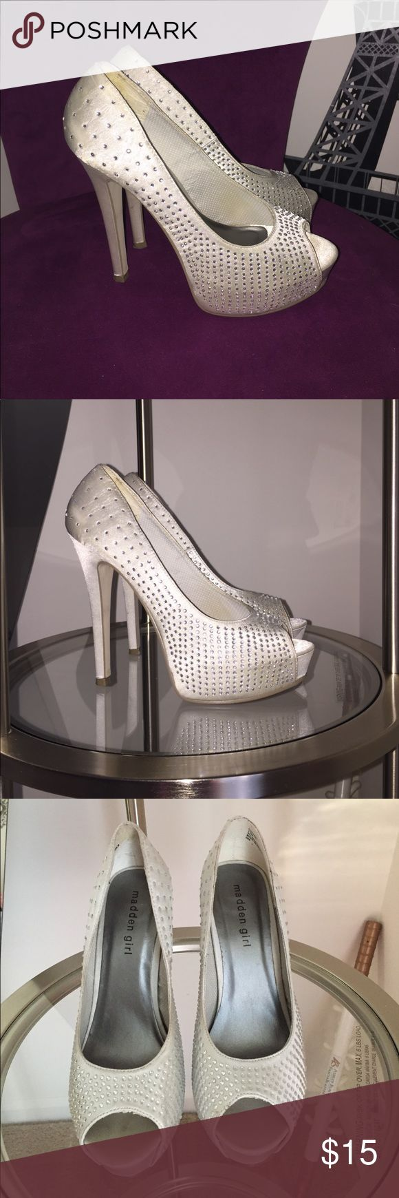 Prom Shoes. silver, bling platform open toe heels. Madden girl silver, silk with the bling platform open toe heels. I wore these ones however I took pictures of all the blemishes these shoes have. The fabric  gets dirty easy. Perfect for prom one night use. Madden Girl Shoes Platforms