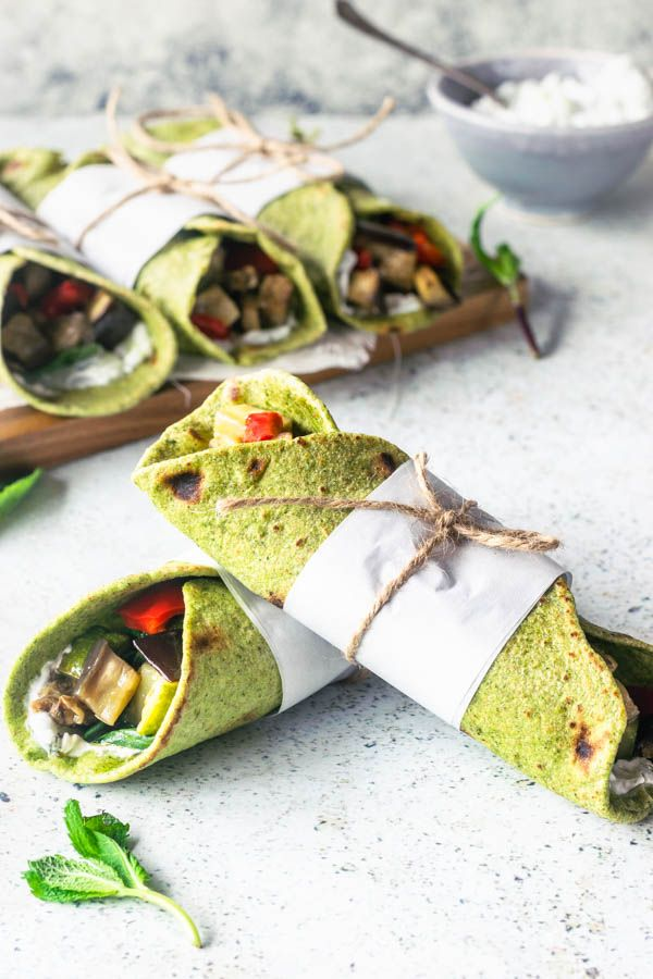 Veggie Wraps With Eggplant Red Pepper Zucchini And Tzaziki Sauce