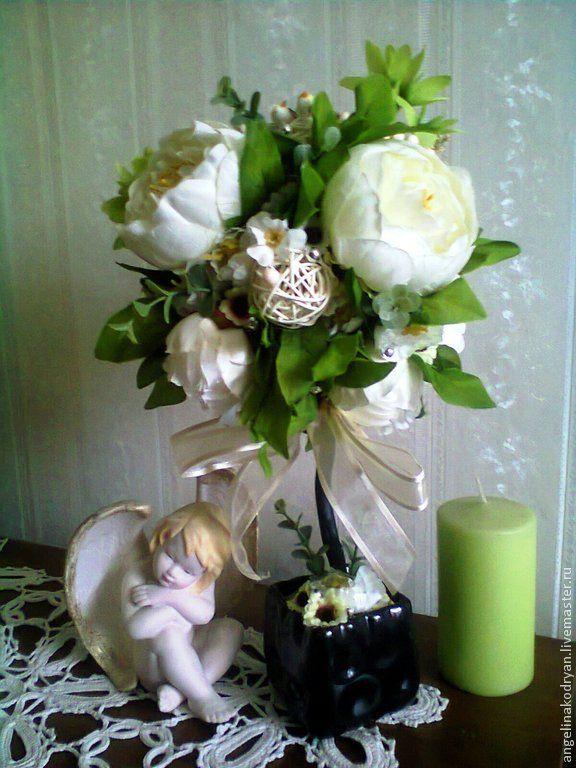 """Топиарий """"Волшебные пионы """" - белый,кремовый,ванильный,винтаж,шебби,подарок"""