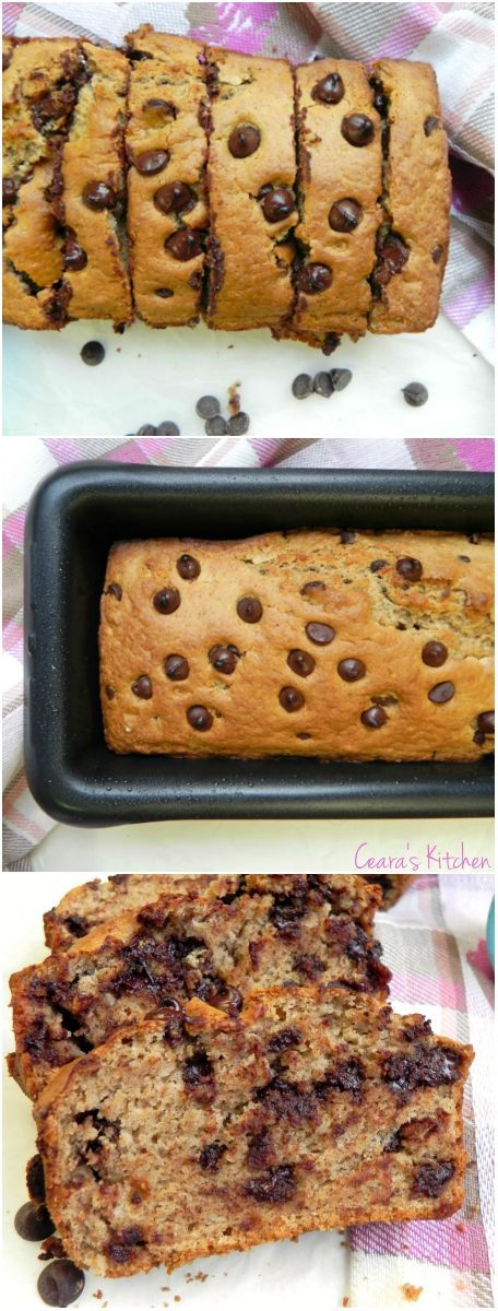 A healthy Chocolate Chip Muffin batter baked into a delicious loaf! Completely oil free and made with simple and healthy ingredients! A real treat! #healthy #healthyrecipe #vegan #veganrecipe #chocolate
