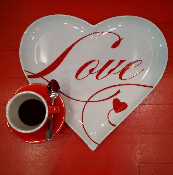 Heart-shaped serving platter with espresso cup + saucer. ‪#‎valentinegift‬ ‪#‎servingplatter‬ ‪#‎dessertplate‬ ‪#‎heartshaped‬ ‪#‎lovescript‬ ‪#‎espresso‬ ‪#‎tray‬ ‪#‎teaparty‬ ‪#‎sweets‬ ‪#‎whimsy‬ ‪#‎boutique‬ ‪#‎redletterstore‬