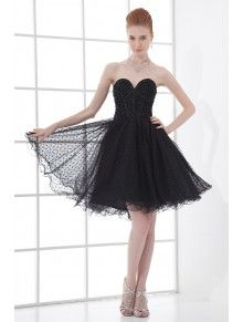 Net Sweetheart Sheath Short Embroidered Cocktail Dress