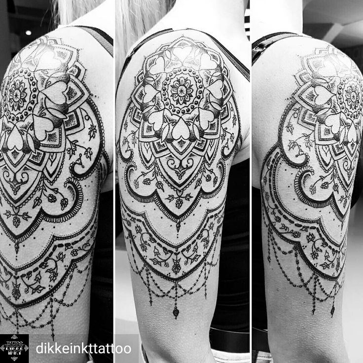 Mandala Dotwork Shoulder Upper Arm Tattoo Women Black And