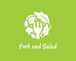 Fork and Salad Logo design - Logo can be use for restaurant service and other similar categories. Price $500.00