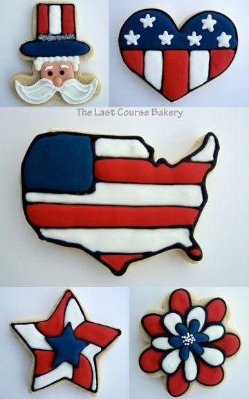 6 Patriotic Decorated Sugar Cookies by TheLastCourseBakery on Etsy, $24.99