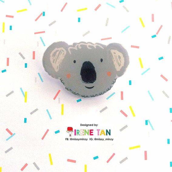 Shrink Plastic Brooch – Koala Bear. Handmade Brooch, Aussie Gift, Lapel Pin. For Girlfriend Gift, Stocking Filler, Quirky Accessories by missyminzy on Etsy https://www.etsy.com/au/listing/477447598/shrink-plastic-brooch-koala-bear