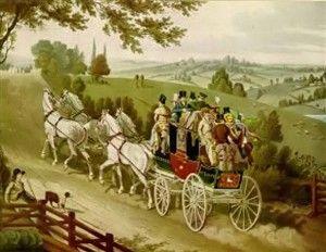 1820 ca.  The Brighton Comet, England.   The stagecoach known as the Brighton Comet, with passengers.  mybrightonandhove.org.uk   suzilove.com