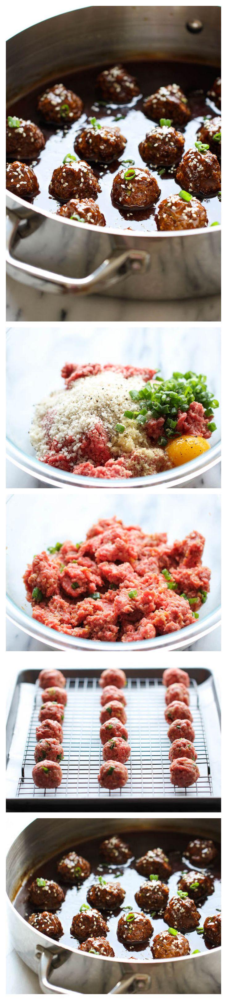 Teriyaki Meatballs - Juicy, tender meatballs tossed in a super easy, homemade sweet teriyaki sauce!