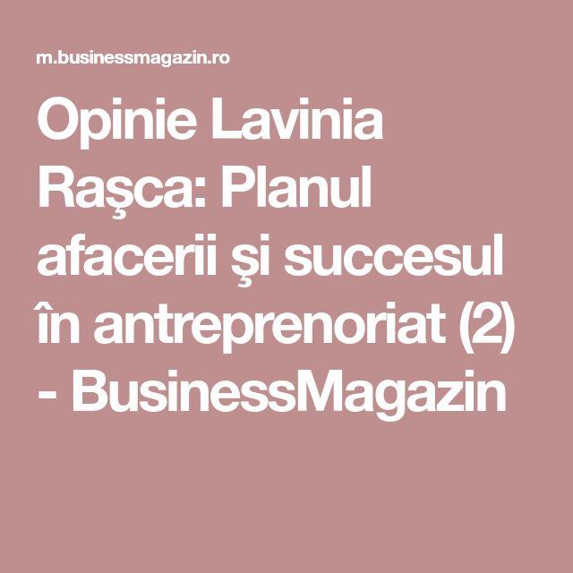 Opinie Lavinia Raşca: Planul afacerii şi succesul în antreprenoriat (2) - BusinessMagazin