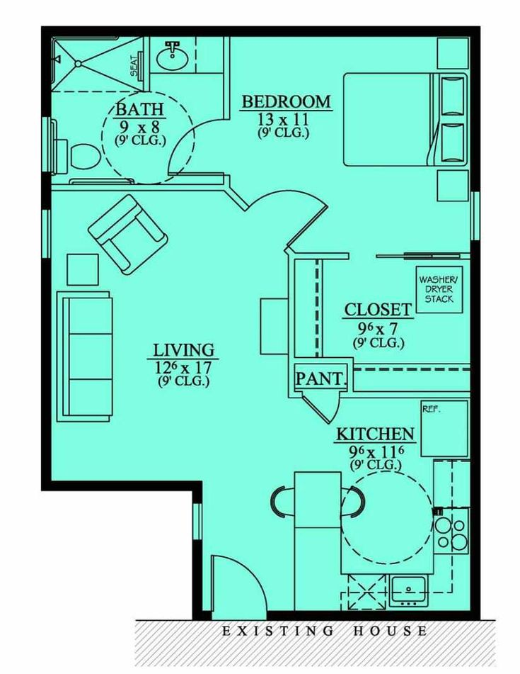 Floor plan no exterior available approx 600 sq ft for House plans for mother in law quarters