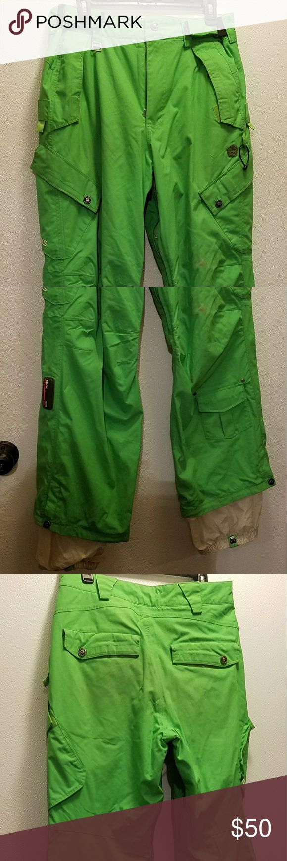Sessions Snow Boarding Pants Lime green Sessions Snow Boarding Pants. Used. Light wear marks shown in picture, only cosmetic.  Good condition.  They are guys,  but I wore them. Size Mens Small. Fits like womans Large.  Adjustable sides, originally 300.00 Pants