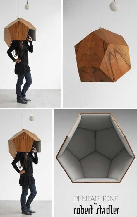 Austrian designer Robert Stadler conceived the Pentaphone as a vertically adjustable isolation space that doubles as an intriguing piece of indoor furniture. Crafted from stained and varnished wood panels lined with acoustically absorbent foam, the Pentaphone may look more than a little sci-fi but why not? It's hard to get any quieter than being in outer space.