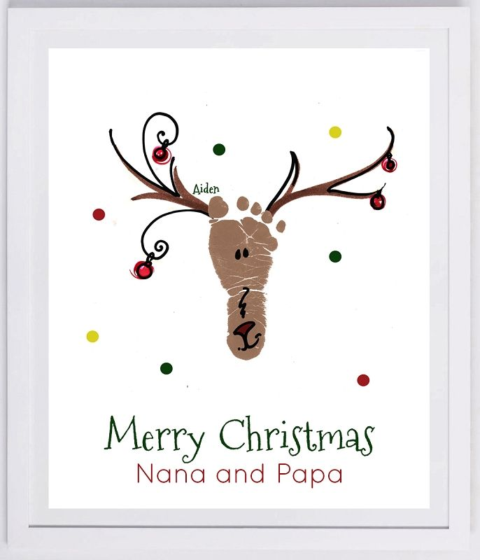 Reindeer Footprint Wall Art - your child's actual prints! grandpa and grandpa…