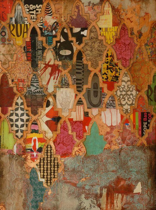 by Jill Ricci, layered mixed media on wood