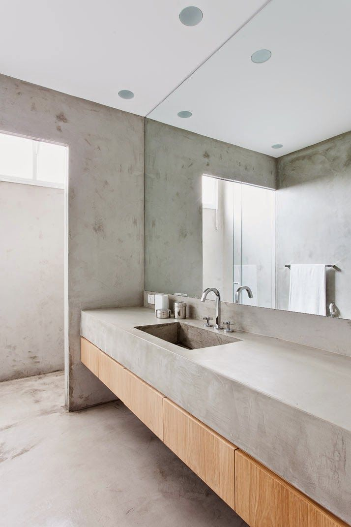 Beton Waschbecken Badezimmereinrichtung Minimalistische Einrichtung Badezimmer Klein