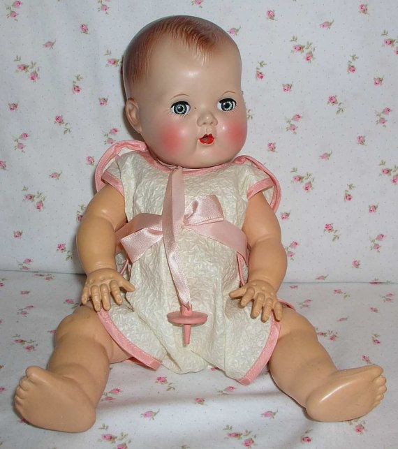 135 Molded Hair 1950s Tiny Tears Doll. I have one with rooted hair, but I would love to have one with molded hair.