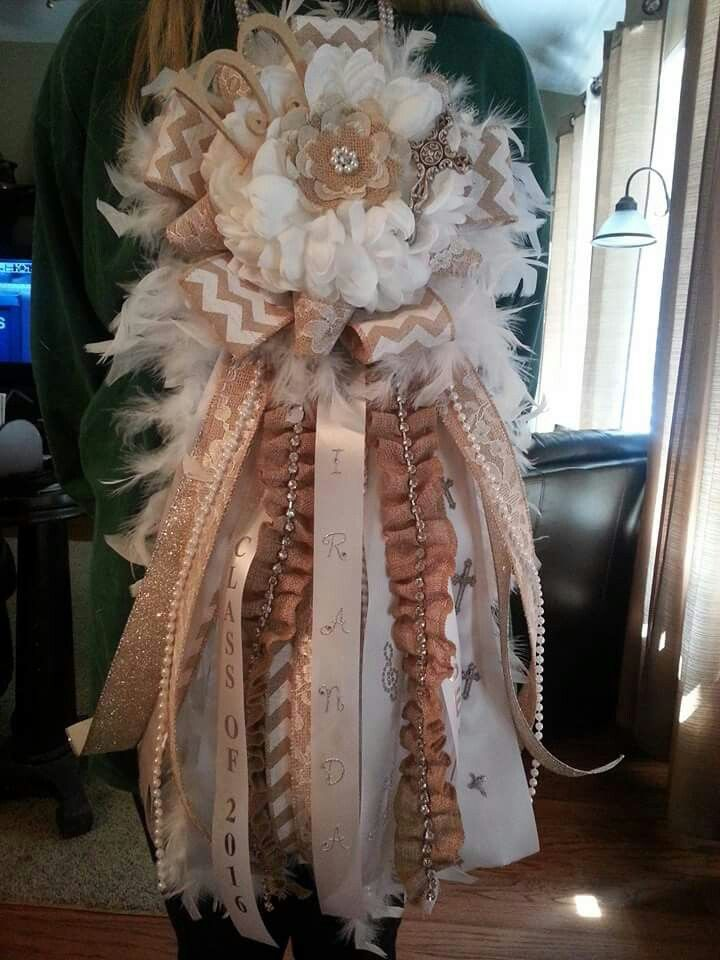 My senior mum I made for homecoming with burlap, pearls, feathers, and lace