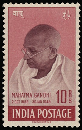 """N° 187/190 """"1948 Gandhi"""" mooie reeks (Mi Euro 300)- zie foto kaft.    Dealer  Van Looy Stamp Auctions    Auction  Minimum Bid:  200.00 EU"""