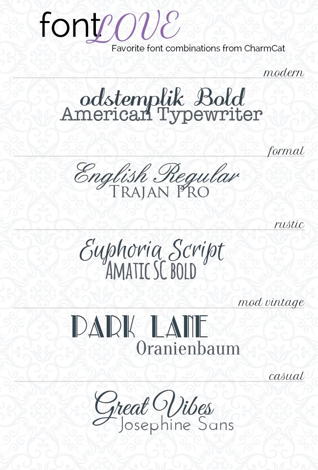 Beautiful Fonts A few of my favorite font combos!