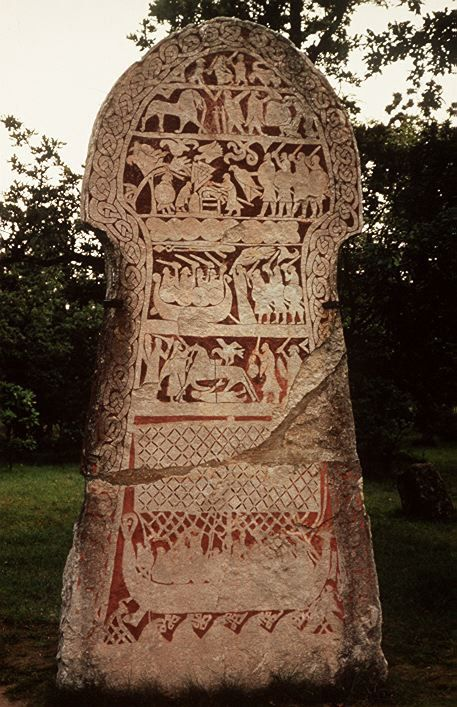 Runestone from Gotland showing the Valknot.