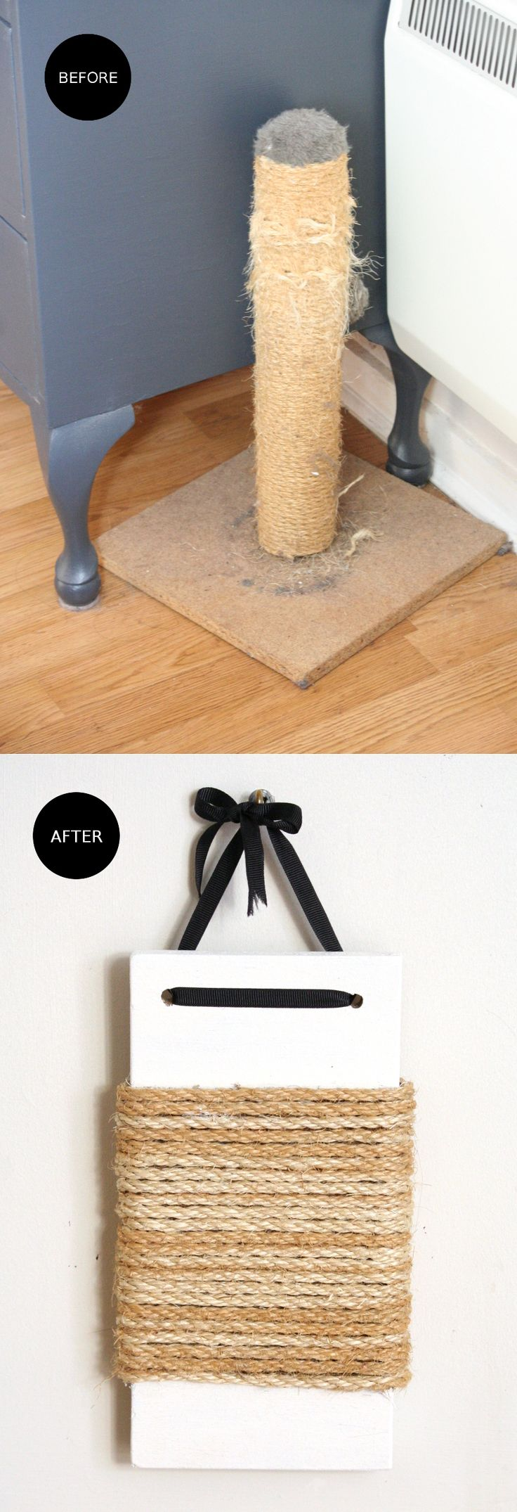 Recycle your old, haggard cat scratching post into a stylish 'new' scratching post.