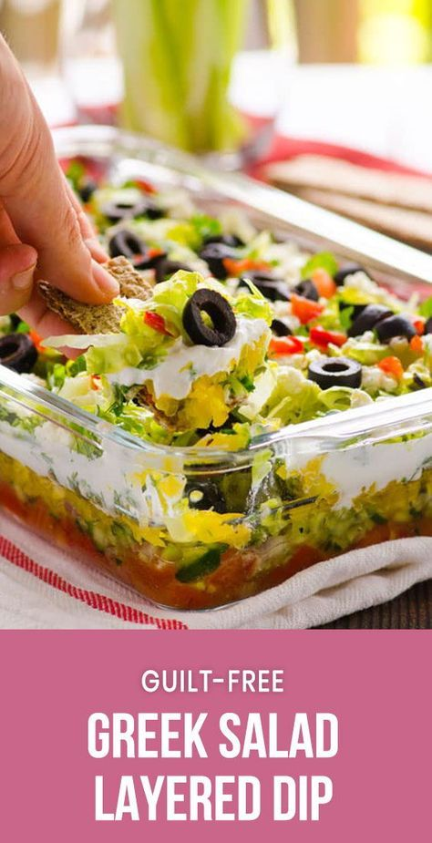 Greek Salad Layered Dip Recipe is a fresh healthy appetizer made with lettuce, t…