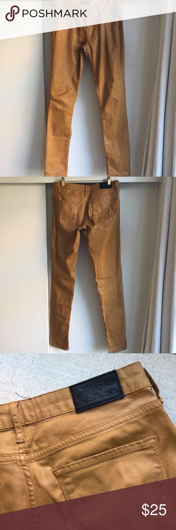 """Cimarron wax jeans 30""""w. 34""""l. Waxed jeans in ochre. 98% cotton, 2% elasthane. Skinny legs. Low waist. Cimarron Jeans Skinny"""