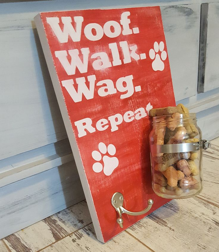 Leash and Treat Rustic Wall Organizer with key hooks, kitchen, entry wall organizer mason jar vase