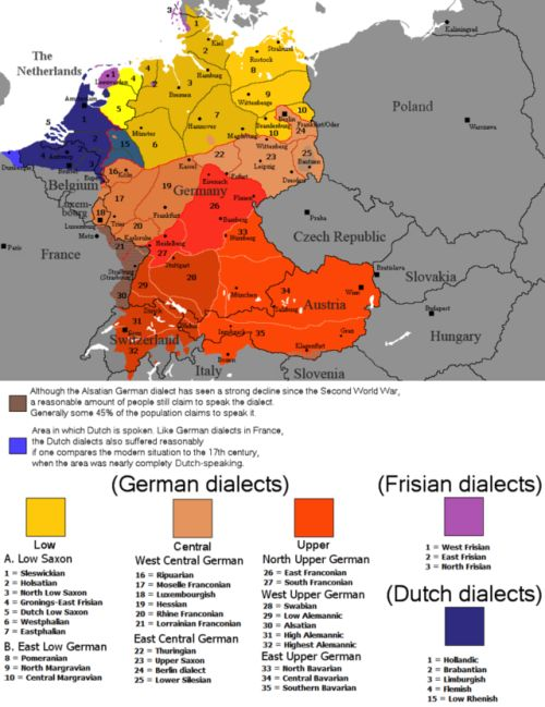 The dialectal ranges (not those of standard languages!) of the Continental West Germanic languages (Dutch/Frisian/German).