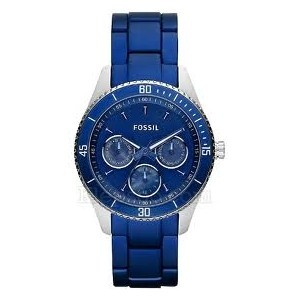 Reloj Fossil con caja de acero y brazalete de aluminio en color azul. Colección summer 2012.