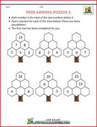 Printable Math Puzzles - Tree Adding Puzzle 2. Use addition and subtraction skills to find the missing numbers on the trees.
