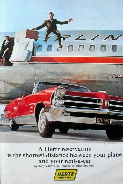 1965 Pontiac convertible featured in a vintage Hertz Rent-A-Car print advertisement