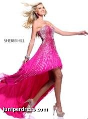 Hot Pink Sherri Hill Prom Dress with a silver lined pattern #prom2013 #sherrihill #hotpink #silver #patterned #lines #juniperdress