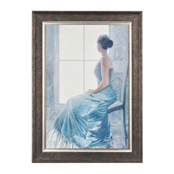 Lady In Blue Framed Art Print. Framed print measures 39.38L x 1.5W x 54.38H in. Inner print measures 30L x 45H in.