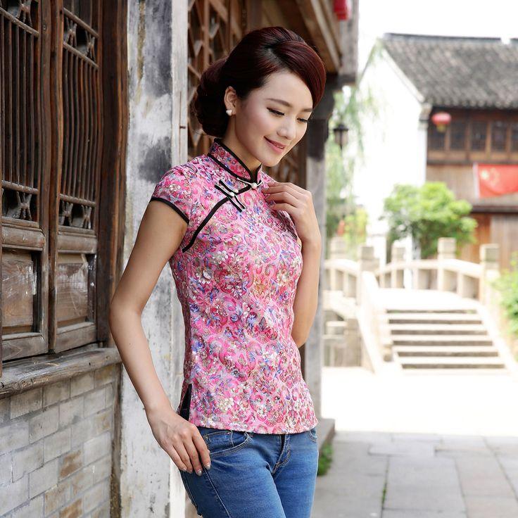 Enchanting Flowers Classical Cheongsam Shirt - Pink - Chinese Shirts & Blouses - Women