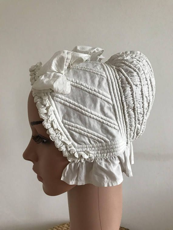 Antique Bonnet 1800s Corded Padded Linen Victorian Ladies