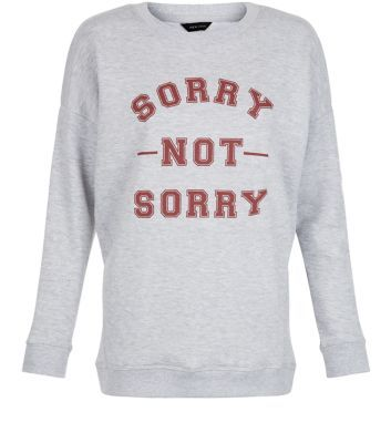Grey Sorry Not Sorry Sweater