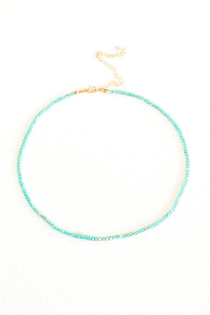 Island In The Sun Beaded Choker Necklace - Turquoise