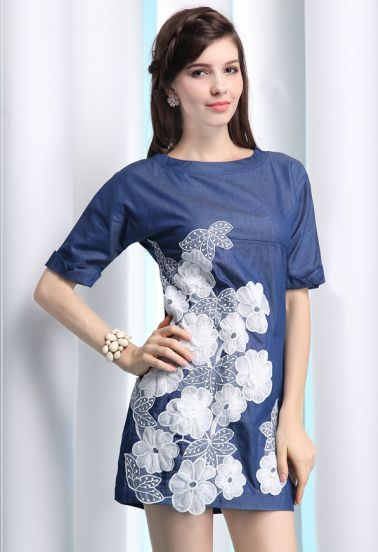 Embroidery Silk Dress