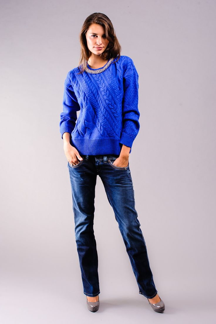 swetry, Odzież, ONA, Pepe Jeans, PEPE JEANS SWETER PL700593 FRANCA TWILIGHT BUTY, Buty damskie, Buty meskie, dzieciece, obuwie Tommy Hilfige...
