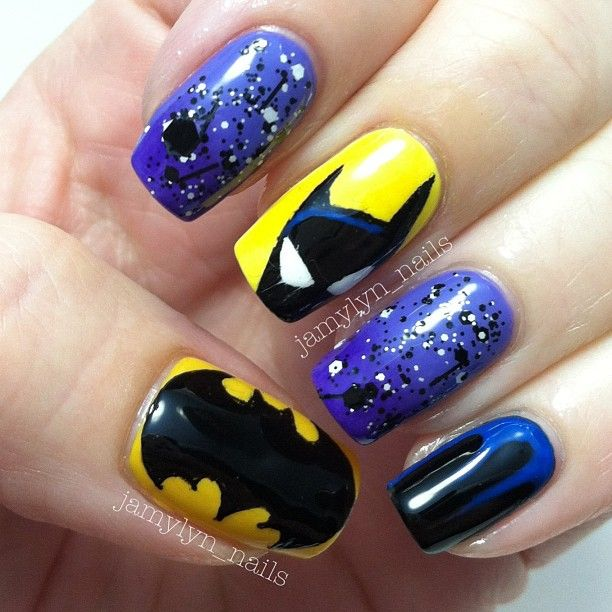 And here are my #batmannails with the thumb and minus that awesome photo of me before my workout 😉 #nailartjune