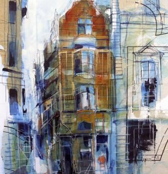 Rob Wilson, (painting of Manchester, no title)  I like the mixed media use in this piece.