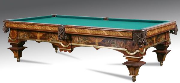 American Renaissance Revival-style regulation size pool table with finely detailed marquetry inlaid designs depicting American eagles with outstretched wings flanked by regimental battle flags and cannons, all inlaid with rosewood, ebony and satinwood.