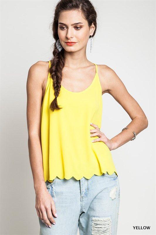 Women Yellow Tank Top