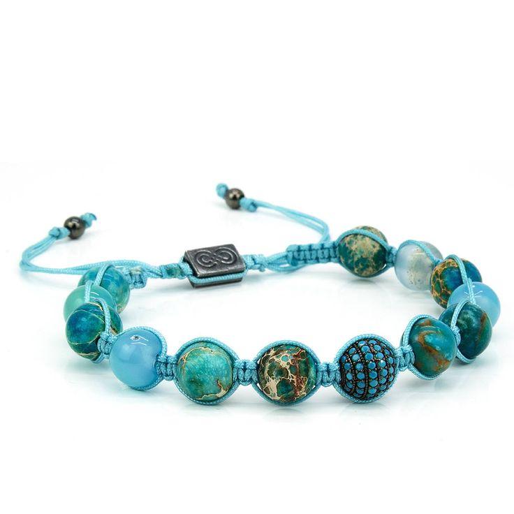MARINE | Shamballa Bracelet, Handcrafted Beaded Bracelet, 925 Sterling Silver, Cubic Zirconia, Mens Jewelry, Gift for Men, Anniversary Gift