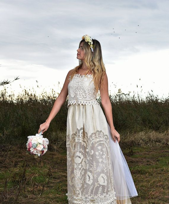 Alternative wedding dress, boho wedding dress, unique wedding bridal set, doily antique lace, Victorian wedding